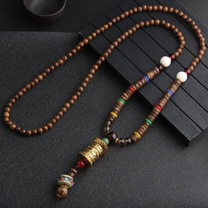 (NEPAL NECKLACES) Buddhist Mala Wood Beads Pendant & Necklace Ethnic Horn Fish Long Statement Jewelry Women Men