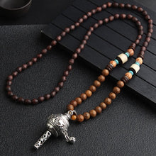 Load image into Gallery viewer, (NEPAL NECKLACES) Buddhist Mala Wood Beads Pendant & Necklace Ethnic Horn Fish Long Statement Jewelry Women Men