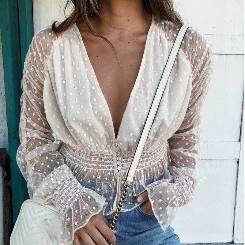 (SUMMER MESH)  sheer elegant blouses female holiday long sleeve transparent see through deep v neck sexy blouse shirts