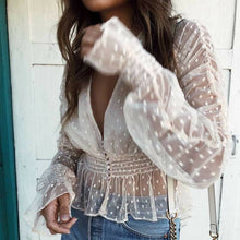 Load image into Gallery viewer, (SUMMER MESH)  sheer elegant blouses female holiday long sleeve transparent see through deep v neck sexy blouse shirts