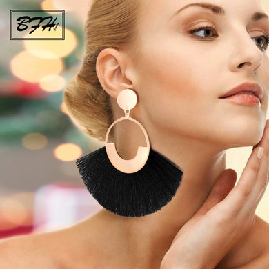 (BIG TASSEL EARRINGS) For Women Lady Female Fringe Handmade Dangle Statement Fashion Woman Earring 2019 Jewelry