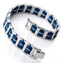 Load image into Gallery viewer, (Link Wrist Silver) Stainless Steel Rubber Bracelet Rectangular Polished