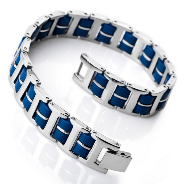 (Link Wrist Silver) Stainless Steel Rubber Bracelet Rectangular Polished