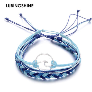 (WAVE BLUE) 3 pcs/Set Multilayer Handmade Braid Bracelets Adjustable Rope Bracelet