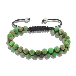 (DOBLE ROWS DIFF COLORS) 6mm Natural Stone Bracelets & Bangles for Unisex