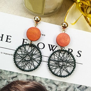 (ARTESANOS EARRINGS) Women Fashion Korean Style Hollow Mesh Drop Earrings Statement Jewelry 1E283