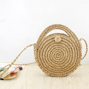(Bali Woven Bag) Round Bag buckle Rattan  Straw Bags Satchel Wind Bohemia Beach Circle Bag