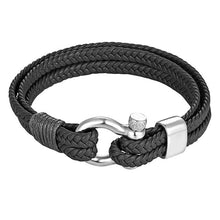 Load image into Gallery viewer, (Leather Rope Chain) Bracelet Stainless Steel Nautical Survival Rope Chain Bracelet Summer Style