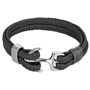 (Leather Rope Chain) Bracelet Stainless Steel Nautical Survival Rope Chain Bracelet Summer Style