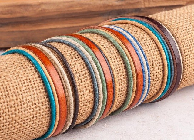 ( Surfer Bracelet) 4pcs Unisex Multilayer Leather Bracelets Cuff Adjustable Handmade