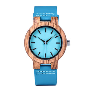 (Timepieces Turquoise) Bobo Bird Zebra Wooden  Blue Watch Lovers