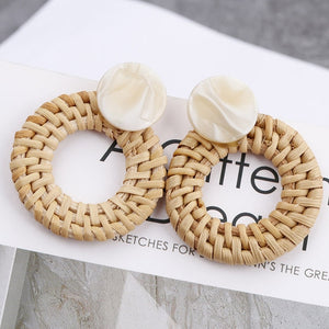 (WOODEN STRAW EARRINGS) Weave Rattan Vine Braid Drop Earrings New Fashion Geometric Long Earrings