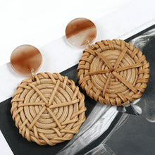 Load image into Gallery viewer, (WOODEN STRAW EARRINGS) Weave Rattan Vine Braid Drop Earrings New Fashion Geometric Long Earrings