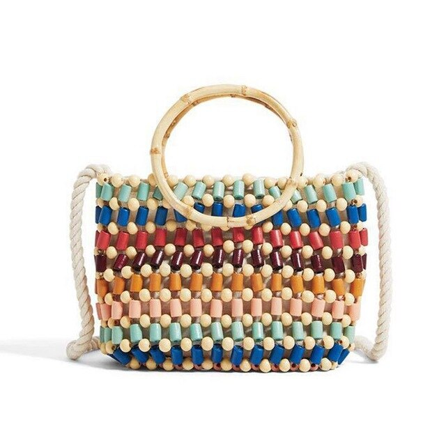 (CROSSBODY BAG) New Beach Woven Bag Color Handmade Beads Shoulder Hand Bags Straw
