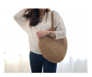 (PALM STRAW BAG)beach bag woven large capacity single shoulder hand crochet Summer girl bag