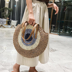 (STRAW BAGS) Women Summer Rattan Bag Handmade Woven Beach Cross Body Bag Circle Bohemia Handbag Bali bolso paja