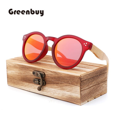 (BAMBOO WOODEN FOOT) Sunglasses retro round frame women's polarized wooden sunglasses Fashion PC Frame Sunglasses