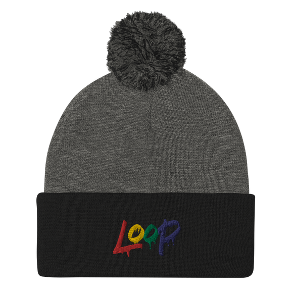 Loop Drip Pom-Pom Beanie (Multi-Color)