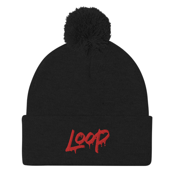 Loop Drip Pom-Pom Beanie (Red)