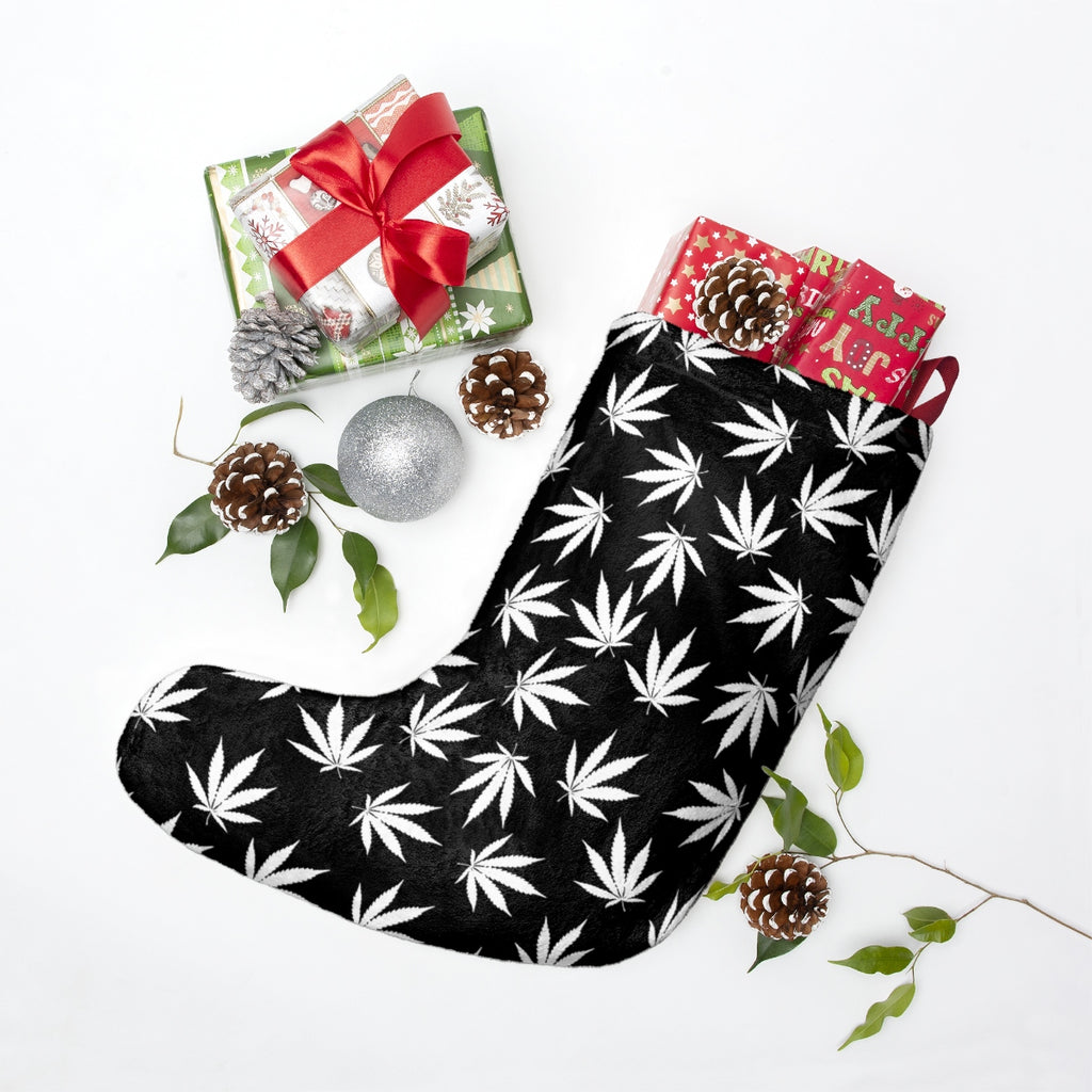 Black Weed Leaf Stoner 420 Christmas Stockings Don T