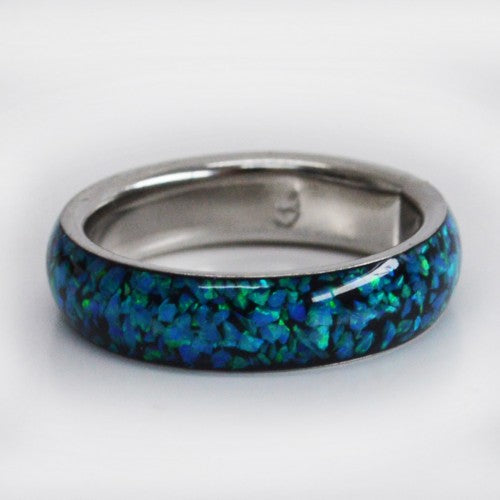 Band ring blue opal size 8