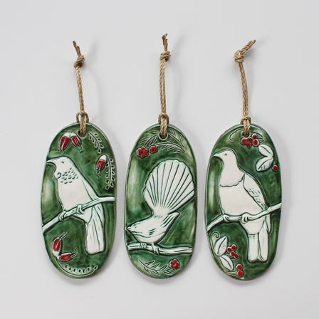 Forest Birds set 3 green/red