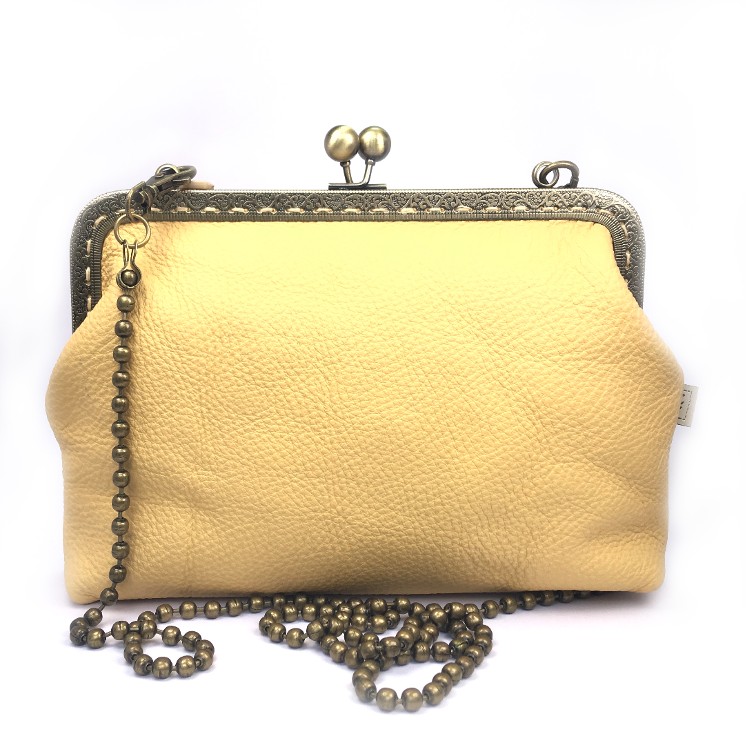Brass frame Purse : 21cm Leather