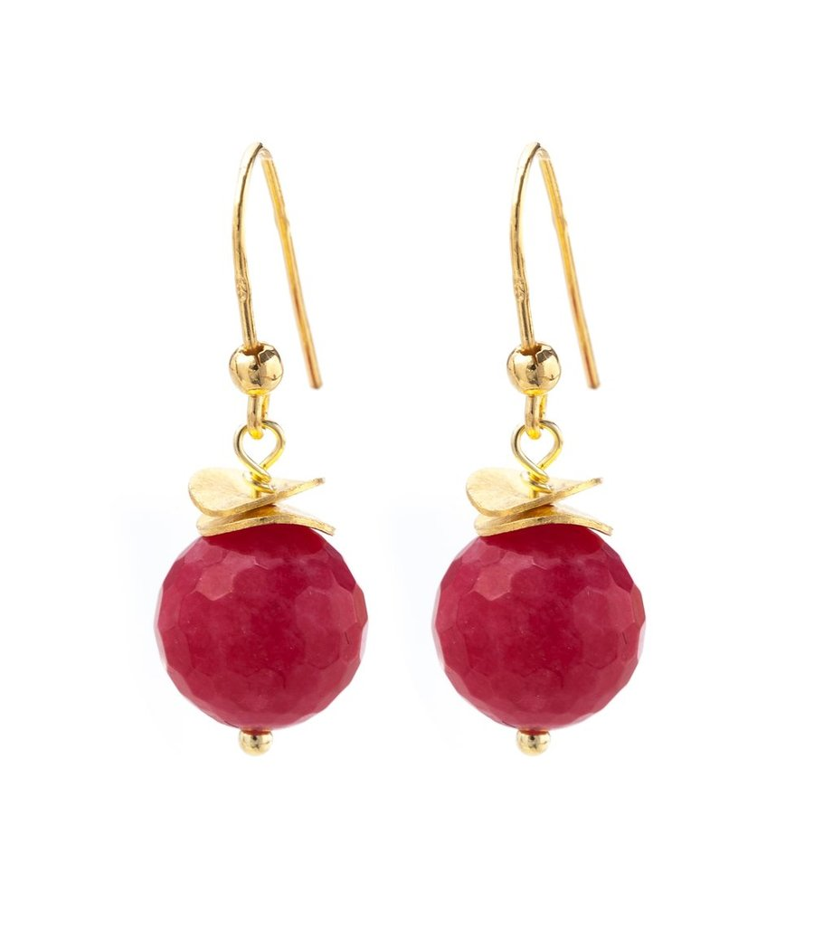 Red Chalcedony or Onyx gold wave earrings