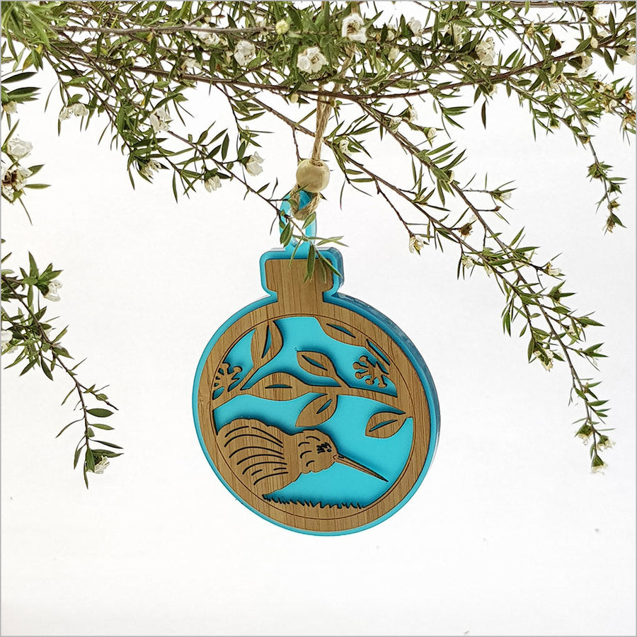 Acrylic Bauble Kiwi on Pohutukawa Blue Satin