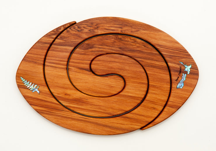 Rugby Ball Tablemat Paua Inlay