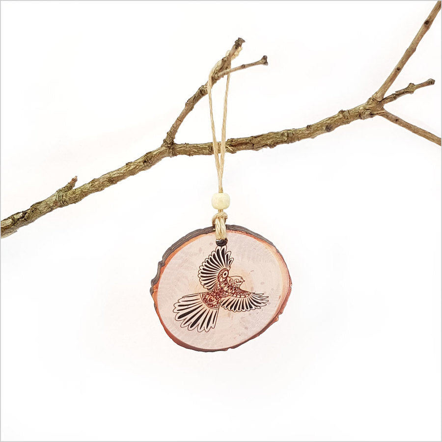 Kowhaiwhai Fantail Hanging Ornament Small