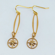 Bronze Marquise Compass Drop Earring