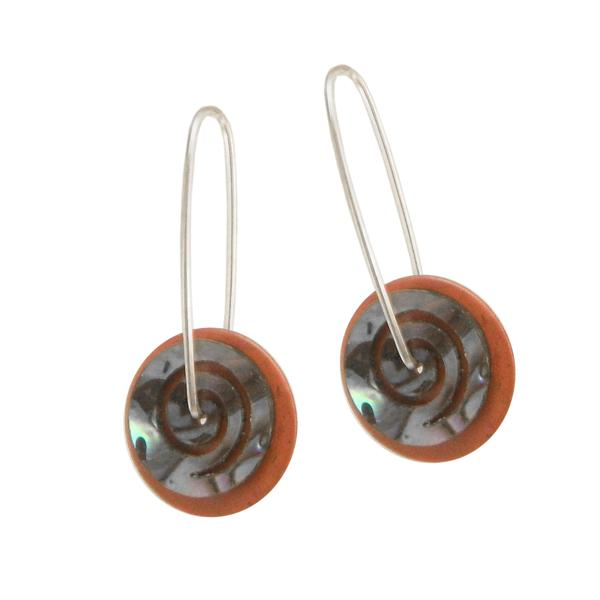 Paua Spiral Earrings Copper