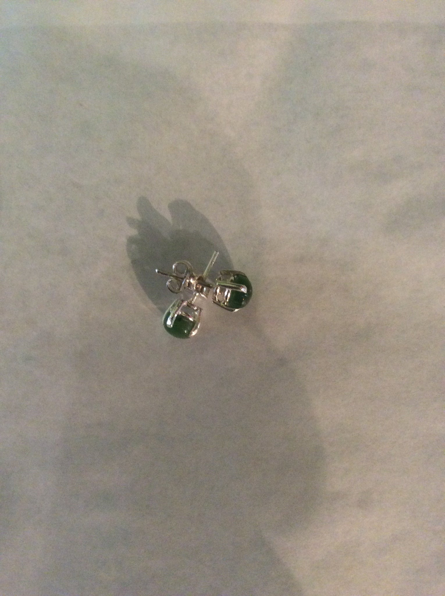 Greenstone Sterling Silver Stud Earrings