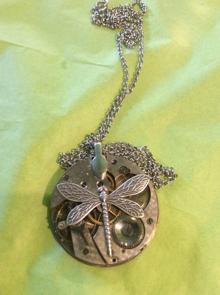 Large Silver Pendant - Dragonfly