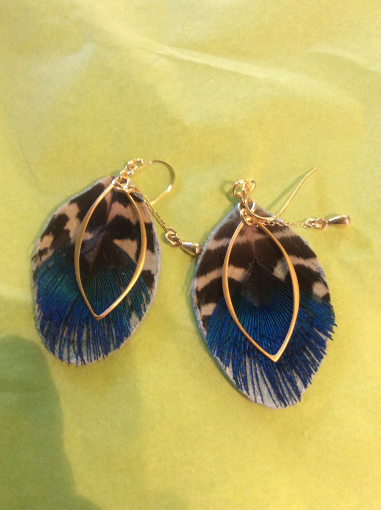Luxury Feather Earring - Peacock Blue