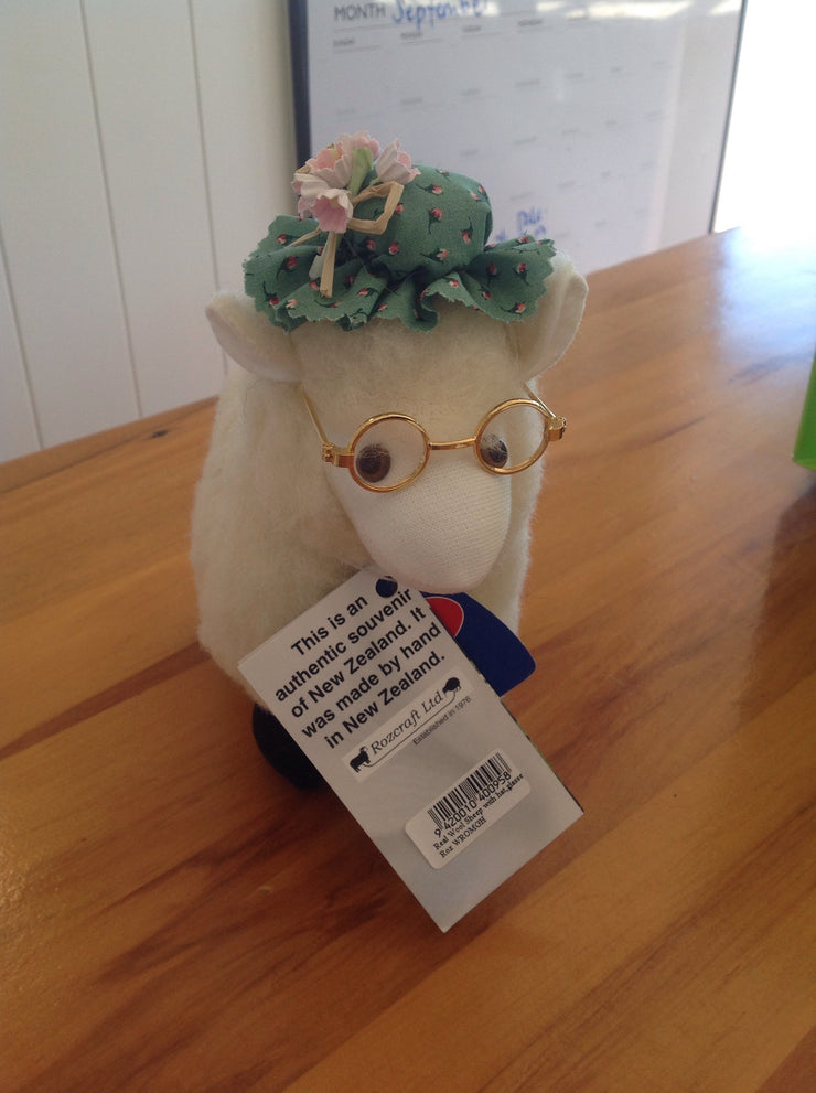 Real Wool Sheep with Hat, Glasses WROMGHR