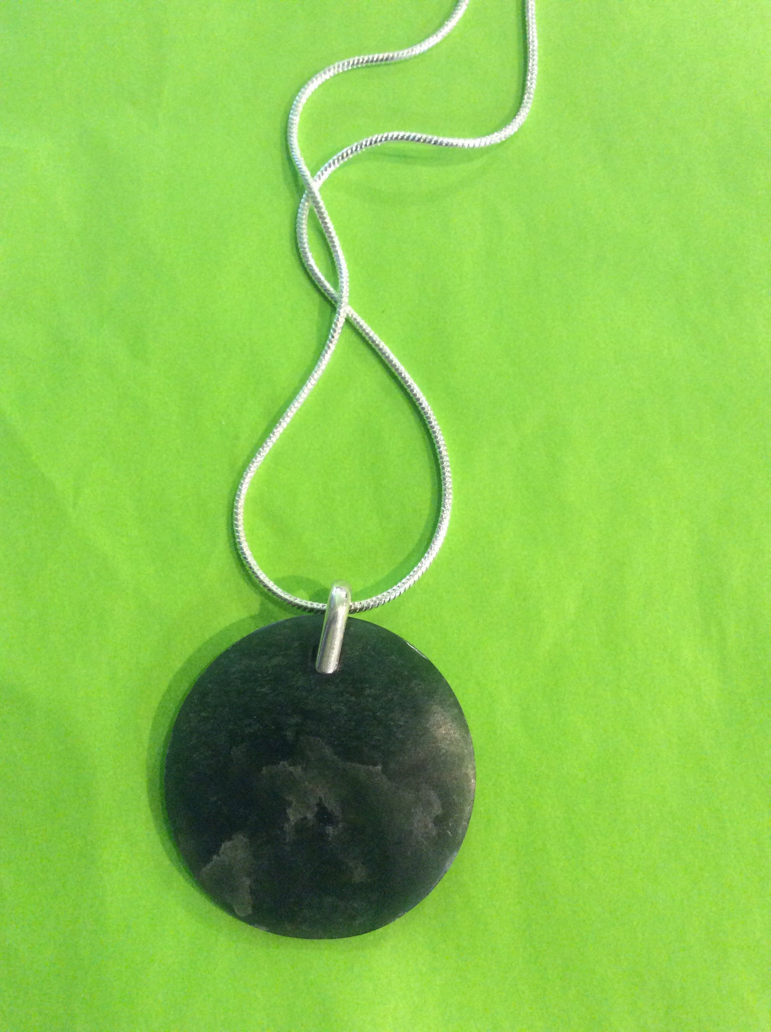 Pounamu Disc & Sterling Silver Bail