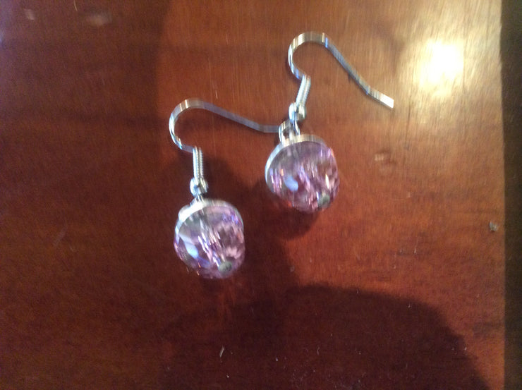 Petite Swarovski Pink Acorn Earrings - Silver