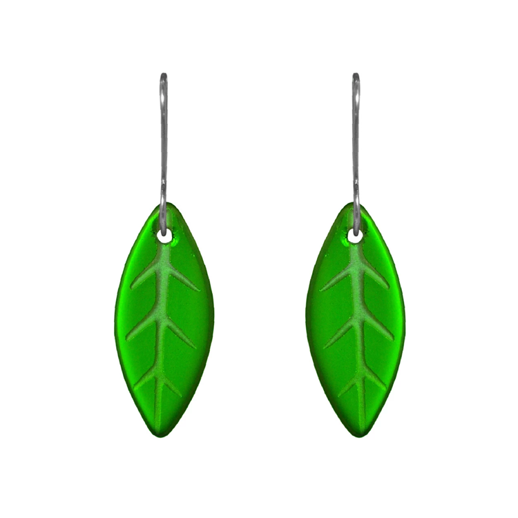 Glass Leaf Earring Green E-GL