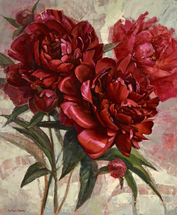 Red Peonies Framed