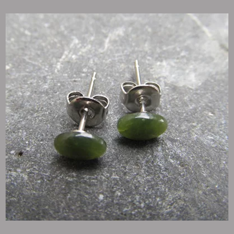 Greenstone Oval Stud Earrings