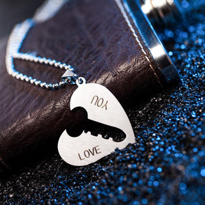Stainless Steel Couple Key-I Love You Lock Heart Pendant Necklace