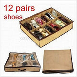 12 Cells Foldable Underbed Shoes Closet Storage Organizer Box