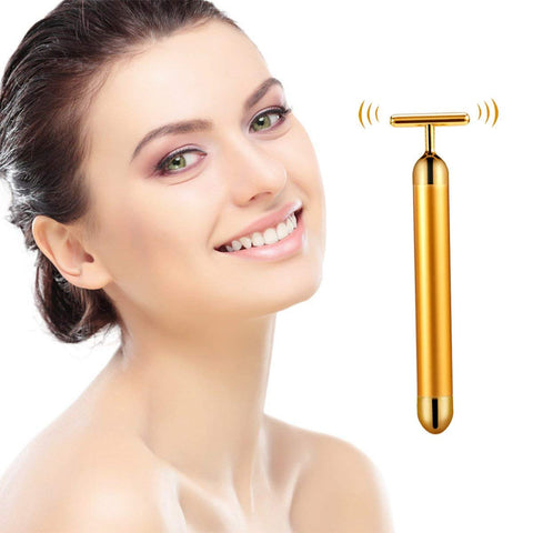 24k Gold Plated Vibration Facial Beauty Roller Massager