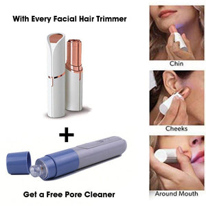 Painless Electric Facial Hair Remover Trimmer & Get FREE Pore Cleaner
