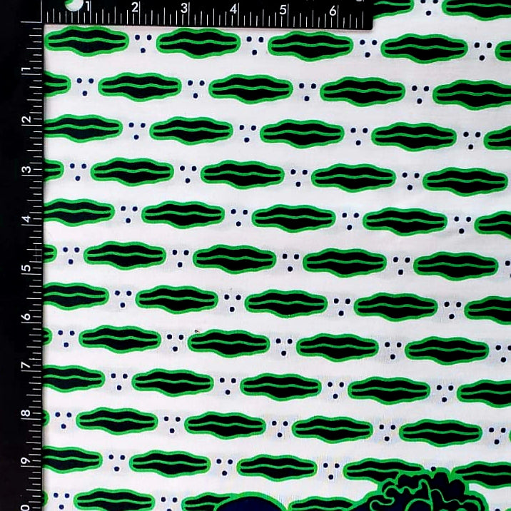 Green Lips Ankara Fabric
