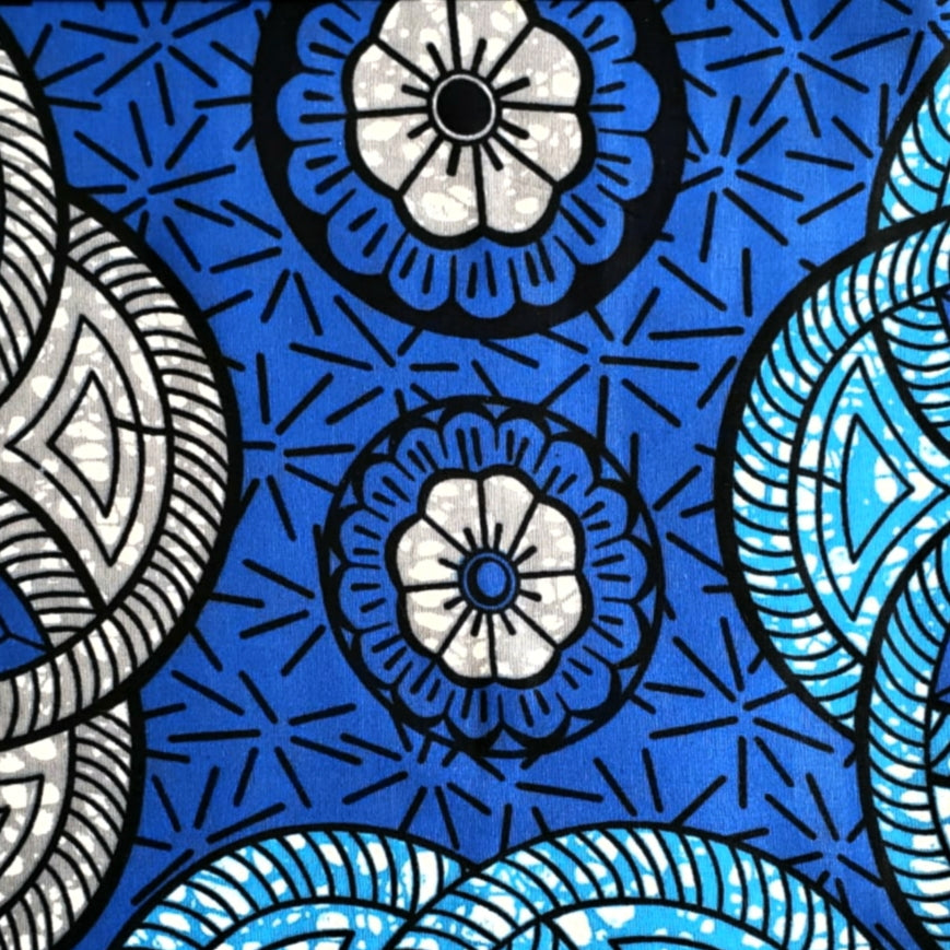 Three Shades of Blue Ankara Fabric