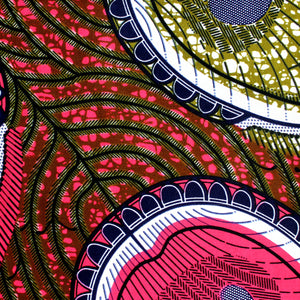 Pink Hatch Ankara Fabric