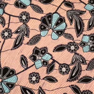 Peach Vines Ankara Fabric